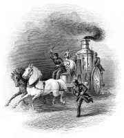 0064014 © Granger - Historical Picture ArchiveFIRE ENGINE.   American horse-drawn steam powered fire engine, c.1870. Steel engraving, 19th century.