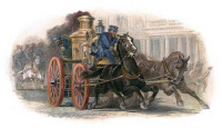 0064204 © Granger - Historical Picture ArchiveFIRE ENGINE, c1870   Horse-drawn and steam powered: American bank note  engraving.