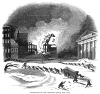 0066335 © Granger - Historical Picture ArchiveFIREFIGHTING, 1845.   Destruction of the New York 'Tribune' office in New York in 1845. Wood engraving from a contemporary English newspaper.