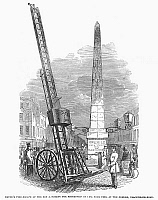 0094080 © Granger - Historical Picture ArchiveFIRE ESCAPE LADDER, 1849.   A new fire escape ladder on display in London. Wood engraving, English, 1849.