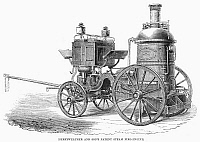 0094081 © Granger - Historical Picture ArchiveFIRE ENGINE, 1862.   'Merryweather and Son's Patent Steam Fire-Engine,'  shown at the International Exbition of 1862 in London.  Wood engraving from a contemporary English newspaper.