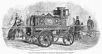 0094087 © Granger - Historical Picture ArchiveFIRE ENGINE, 1862.   An elaborately decorated fire engine presented by the inhabitants of the Borough of Lambeth, London.   Wood engraving, English, 1862.