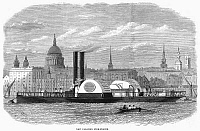 0094090 © Granger - Historical Picture ArchiveFLOATING FIRE ENGINE, 1868.   A new steamboat fire engine on the Thames River in London. Wood engraving, English, 1868.