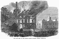 0094091 © Granger - Historical Picture ArchiveFIREFIGHTING, 1866.   Firemen fighting a fire in a candle factory at Plymouth. Wood engraving, English, 1866.