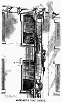 0094099 © Granger - Historical Picture ArchiveFIRE ESCAPE, 1883.   Wood engraving, American, 1883.