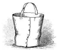 0266633 © Granger - Historical Picture ArchiveFIREFIGHTING: WATER BUCKET.   An ancient water bucket used for fighting fires. Engraving, American, c1885.