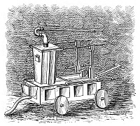 0266675 © Granger - Historical Picture ArchiveFIREFIGHTING, c1725.   A hand-pulled fire engine dating from c1725. Engraving, English, 1885.