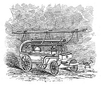 0266677 © Granger - Historical Picture ArchiveFIREFIGHTING, c1834.   An American hand-pulled fire engine dating from c1834. Engraving, English, 1885.