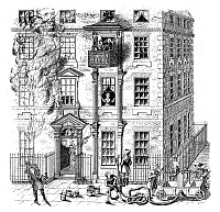 0266681 © Granger - Historical Picture ArchiveFIRE ESCAPE, 1791.   A movable balcony fire escape in England, 1791. Engraving, English, 1885.