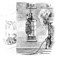 0266683 © Granger - Historical Picture ArchiveFIRE ESCAPE, 1884.   A woman escaping from a burning building using a 'portable friction' fire escape. American invention, 1884. Engraving, English, 1885.