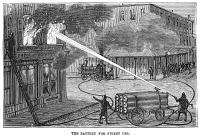 0354250 © Granger - Historical Picture ArchiveFIREFIGHTING, 1876.   Demonstration of a battery for fighting fires from the street, at 59th Street and 11th Avenue in Manhattan, using the Hastings System for fighting fires. Wood engraving, American, 1876.