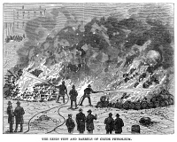0354251 © Granger - Historical Picture ArchiveFIREFIGHTING, 1876.   Firefighters demonstrating how to extinguish fires of burning resin and petroleum, at 59th Street and 11th Avenue in Manhattan, using the Hastings System for fighting fires. Wood engraving, American, 1876.