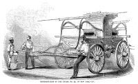 0370660 © Granger - Historical Picture ArchiveFIRE ENGINE, c1853.   Fire engine no. 38, of New York City. Wood engraving, American, c1853.
