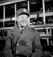 0408691 © Granger - Historical Picture ArchiveNYC: FIREMAN, 1942.   Portrait of an unidentified member of the FDNY in New York City. Photograph, c1942.
