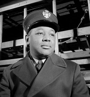 0408692 © Granger - Historical Picture ArchiveNYC: FIREMAN, 1942.   Portrait of an unidentified member of the FDNY in New York City. Photograph, c1942.