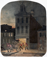 0527626 © Granger - Historical Picture ArchivePHILADELPHIA: FIREHOUSE.   Firemen of the Weccacoe Engine Company pulling a fire engine in Philadelphia, Pennsylvania. Drawing by James Fuller Queen, c1857.