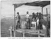 0001311 © Granger - Historical Picture ArchiveCANADA: FISHING RIGHTS.   Canadian fishermen on the outlook for American intruders. Wood engraving, American, 1888.