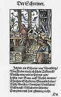0075162 © Granger - Historical Picture ArchiveJOINER, 1568.   A joiner, maker of fine furniture, in his workshop at Nuremberg. Woodcut, 1568, by Jost Amman.