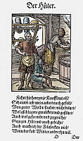 0075420 © Granger - Historical Picture ArchiveHATTERS, 1568.   Hatters making hats of wool felt. Woodcut, 1568, by Jost Amman.