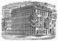 0095783 © Granger - Historical Picture ArchiveJEWELRY FACTORY, c1880.   Foster and Bailey's Jewelry Works, corner of Richmond and Friendship Streets, Providence, Rhode Island. Line engraving, 19th century.