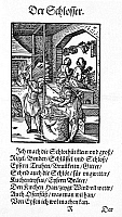 0081478 © Granger - Historical Picture ArchiveLOCKSMITH, 1568.   The locksmith makes locks, keys, bolts, chains, iron chests, grates, weathercocks and many other iron objects. Poem by Hans Sachs, woodcut by Jost Amman, 1568.
