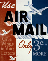 0039133 © Granger - Historical Picture ArchiveAIR MAIL POSTER, c1935.   U.S. Post Office poster, offering six cent Air Mail Service.