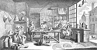 0047017 © Granger - Historical Picture ArchiveTINSMITHS, 18th CENTURY.   Interior of a tinware shop. Line engraving, French, 18th century.
