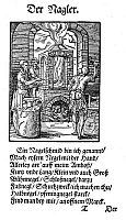 0081482 © Granger - Historical Picture ArchiveNAIL MAKER, 1568.   The nail maker produces all sizes of nails and tacks for builders, coopers, shoemakers and other artisans. Poem by Hans Sachs, woodcut by Jost Amman, 1568.