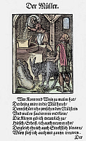0075103 © Granger - Historical Picture ArchiveMILLING GRAIN, 1568.   The Miller. Woodcut, 1568, by Jost Amman.