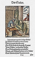 0104713 © Granger - Historical Picture ArchiveSIEVE MAKER, 1568.   Woodcut, 1568, by Jost Amman.