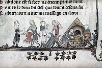 0116811 © Granger - Historical Picture ArchiveDYERS, 14th CENTURY.   Clothing dyers at work. Detail of an illumination by Jehan de Grise in the 'Romance of Alexander,' c1340.