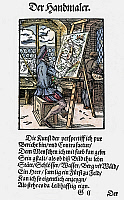 0076798 © Granger - Historical Picture ArchivePAINTER, 1568.   Woodcut, 1568, by Jost Amman.