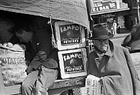 0121773 © Granger - Historical Picture ArchiveTEXAS: POTATO VENDOR, 1939.   Potato peddler resting in the back of the truck at a farmer's market in San Antonio, Texas. Photograph by Russell Lee, March 1939.