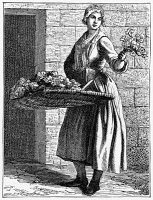 0354408 © Granger - Historical Picture ArchivePARIS: FLOWER SELLER, c1740.   A flower seller on the street in Paris, France. Engraving, 1875, after an etching by Edmé Bouchardon, c1740.