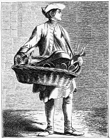 0354410 © Granger - Historical Picture ArchivePARIS: STREET VENDOR, c1740.   A man selling kitchen utensils on the street in Paris, France. Engraving, 1875, after an etching by Edmé Bouchardon, c1740.