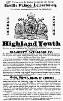 0077275 © Granger - Historical Picture ArchiveHIGHLAND YOUTH, 1835.   A London, England, handbill, c1835, announcing demonstrations by the Double-Sighted Highland Youth.