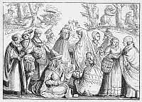 0045720 © Granger - Historical Picture ArchiveGYPSIES TELLING FORTUNES.   Gypsies telling fortunes, and scenes of wild boar and bear hunting. Woodcut, Swiss, 1552.