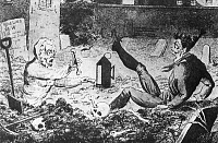 0078216 © Granger - Historical Picture ArchiveGHOST AND GRAVE ROBBER.   An enraged ghost, rising from the earth, with a thighbone in each hand, wards off a grave robber. Engraving by George Cruikshank, c1830.