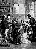 0173166 © Granger - Historical Picture ArchiveSPIRITUALISM: FOX SISTERS.   Doctor Austin Flint, with colleagues from the University of Buffalo, examines one of the Fox sisters in 1851. She claimed to be afflicted with 'spirit' rappings, but was diagnosed with popping knee joints. Contemporary American wood engraving.