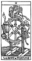0077736 © Granger - Historical Picture ArchiveTAROT CARD: FORTUNE.   'The Wheel of Fortune (Fate).' Woodcut, French, 16th century.