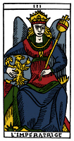0527876 © Granger - Historical Picture ArchiveTAROT CARD: THE EMPRESS.   'The Empress (Initiative)'. Woodcut, French, 16th century.