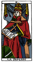 0527883 © Granger - Historical Picture ArchiveTAROT CARD: THE POPESS.   'The Popess (The Female Inquirer).' Woodcut, French, 16th century.
