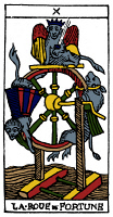 0527890 © Granger - Historical Picture ArchiveTAROT CARD: FORTUNE.   'The Wheel of Fortune (Fate).' Woodcut, French, 16th century.