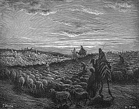 0030062 © Granger - Historical Picture ArchiveABRAHAM ENTERING CANAAN.   Abraham journeying into the Land of Canaan (Genesis 12:1-2). Wood engraving after Gustave Doré.