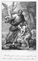 0030374 © Granger - Historical Picture ArchiveABRAHAM SACRIFICING ISAAC.   Abraham offering up Isaac. Line engraving, Italian, early 19th century.