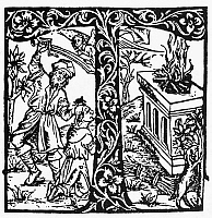 0087786 © Granger - Historical Picture ArchiveSACRIFICE OF ABRAHAM.   Abraham's sacrifice of Isaac. Woodcut from the 'Lyon Missal,' Lyon, France, c1500.