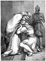 0052827 © Granger - Historical Picture ArchiveDAVID AND ABSALOM.   Joab brings the rebellious Absalom to his father, King David, who forgives him (2 Samuel 14: 33). Wood engraving, American, 19th century.
