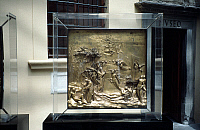 0064255 © Granger - Historical Picture ArchiveGHIBERTI: ADAM AND EVE.   Lorenzo Ghiberti (1370-1455): Adam and Eve. Bronze panel from doors of baptistry in Florence.