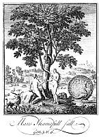 0323313 © Granger - Historical Picture ArchiveADAM AND EVE.   'Therefore the Lord God sent him forth from the Garden of Eden.' Engraving, 18th century.