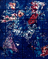 0025086 © Granger - Historical Picture ArchiveCHAGALL: CREATION.   'The Creation, The First Four Days.' Stained glass by Marc Chagall at the Musée Marc Chagall in Nice, France.
